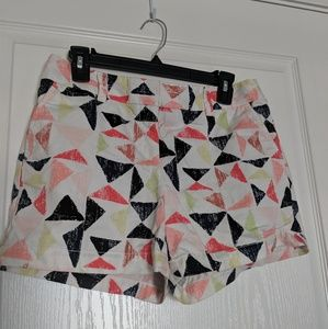 Loft white shorts with multi-color triangles - 4